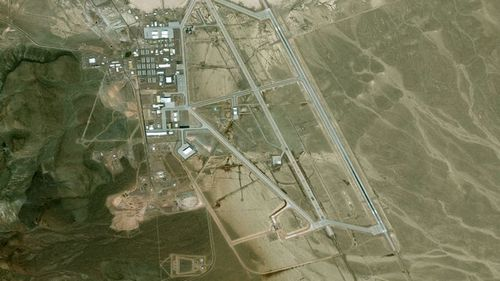 A satellite image of the US military's Area 51 site - part of the Edwards AIr Force base - in the Nevada desert.
