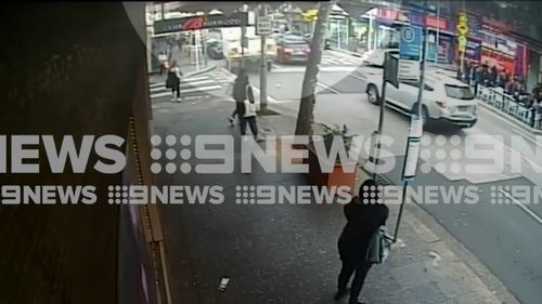 The truck can be seen crossing the intersection in Burwood yesterday afternoon. (9NEWS)