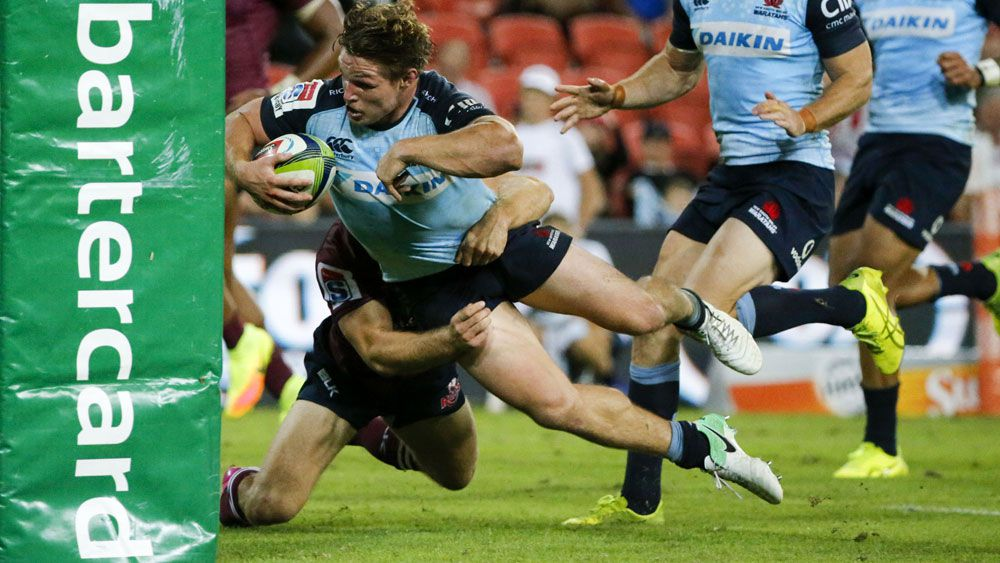 Michael Hooper scores a try for the Waratahs. (AAP)