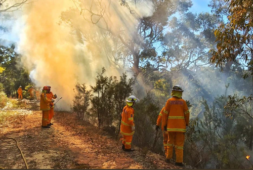Firefighters conducting hazard reduction burns in the Southern Highlands. (Twitter/ABC)
