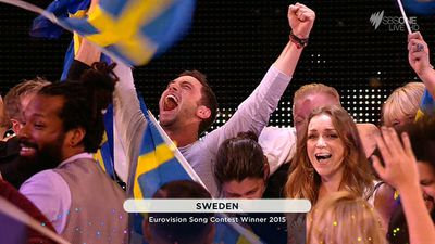 Sweden's joy on winning the competition. (SBS)