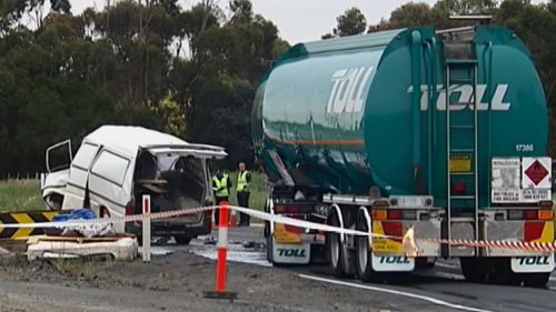 A man has been killed after his van collided with a truck on the Princes Highway near Mount Moriac. (9NEWS)