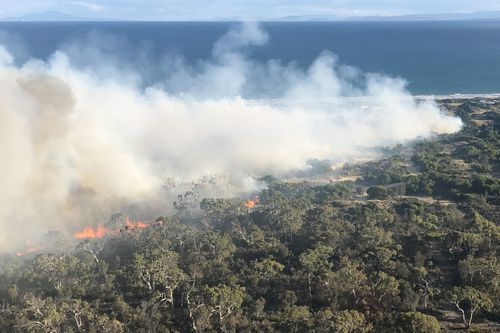 Bushfires are a dangerous reality in Australia, and with drier conditions over winter, the next season will arrive earlier than usual (File image of Dolphin Sands, Tasmania fire).