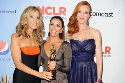 Actresses Felicity Huffman, Eva Longoria, and Marcia Cross in the press room with their Favorite TV Series Award for Despirate Housewives during the 2011 NCLR ALMA Awards in California.