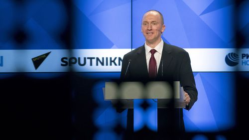 Former Trump foreign policy adviser Carter Page speaks at an event in Russia. (AP)