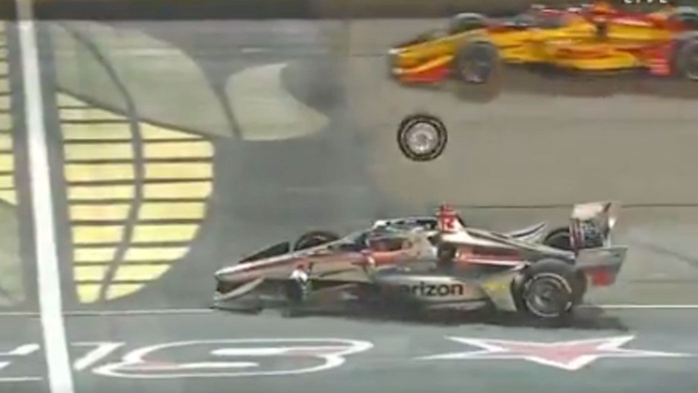 Will Power's wheel almost hits him mid-race