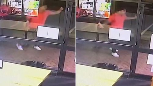 Dylan Walker seen on CCTV outside the restaurant on the night of the assault.