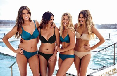 Robyn Lawley, Samantha Harris, Elyse Knowles and Elle Furguson  modelling the Body Bliss by Bras N Things collection