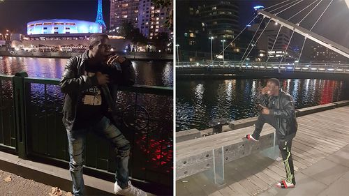 Cameroonian boxer Fotsala Simplice has brazenly posted social media images of him in Melbourne after disappearing from this year's Commonwealth Games. Picture: Facebook.