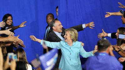 Ms Clinton and running mate Senator Tim Kaine attend a rally at Florida International University on July 23.