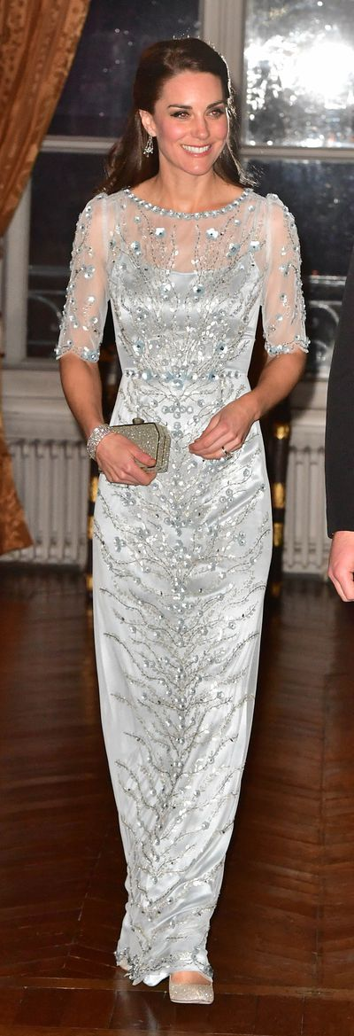 Metallic Jenny Packham gown, March 17.