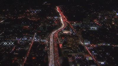 Incredible aerial footage of traffic chaos in LA as Thanksgiving holiday rush begins