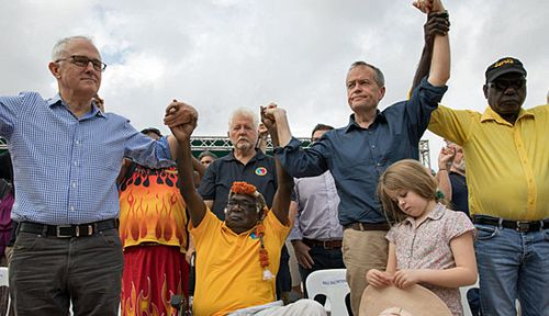 Prime Minister Malcolm Turnbull and Opposition Leader Bill Shorten at the Garma Festival in the Northern Terrritory. (Photo: AAP).