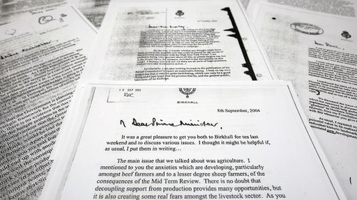 The letters were released after The Guardian newspaper successfully argued the public had a right to know. (AAP)