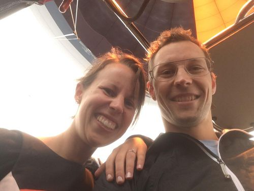 Newly engaged couple have escaped injury after hot air balloon crash-lands.