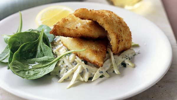 Whiting fillets in parmesan crust with fennel remoulade