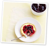 Lime tartlets with blueberry sauce