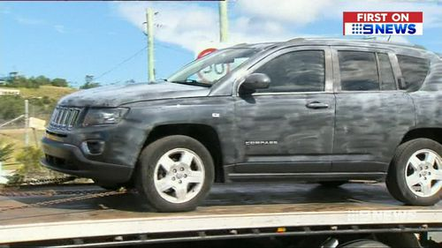 The Jeep which Zhang allegedly used to abduct the 12-year-old boy, driving him 200km from his Gold Coast home. Picture: 9NEWS
