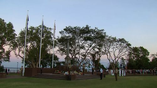 After sunrise, crowds also lined the streets of Darwin to watch the annual Anzac Day parade. Picture: 9NEWS.