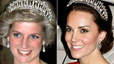 Kate Middleton and Princess Diana in the Cambridge Lover's Knot tiara