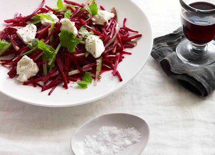Crunchy beetroot and mint salad with labne
