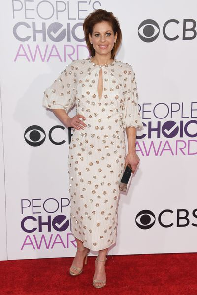 <p>Candace Cameron Bure chose a beaded Jenny Packham dress which she paired with Stuart Weitzman shoes, which meant she looked both elegant and a little sexy.</p> <p>Image: Getty.</p>
