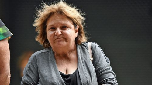 Mel Hayne, mother of 31-year-old Mathew Hayne, is seen outside the Downing Centre Local Court in Sydney, Tuesday, March 19, 2019.