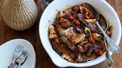 "Recipe:&nbsp;<a href=""http://kitchen.nine.com.au/2016/05/16/17/44/braised-pork-ragu-with-porcini-and-muscat"" target=""_top"">Braised pork ragu with porcini and muscat</a>"