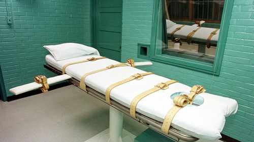 "The ""death chamber"" at the Texas Department of Criminal Justice Huntsville Unit in Huntsville, Texas."