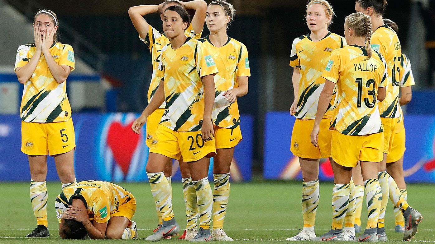 Matildas and captain Sam Kerr look dejected after their loss to Norway