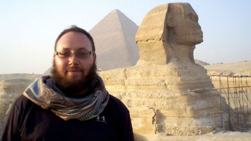 An undated photo of journalist Steven Sotloff at the Great Sphinx in Egypt. (Supplied, Facebook)