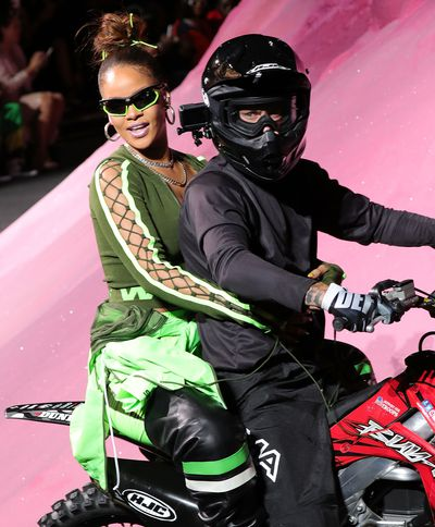 "<p>Pop star <a href=""http://style.nine.com.au/2017/07/26/09/03/style_rihanna-fenty-beauty"" target=""_blank"">Rihanna</a> has embraced the concept of fashion as entertainment with her latest collection for Fenty x Puma.</p> <p> Rihanna&rsquo;s crew transformed the Park Avenue Armory at New York Fashion Week into a space age set with poppy pink mountains providing a backdrop for the dirt bike stunts that opened the show.</p> <p> The collection extended the adrenalin-fuelled theme with the front row crowd of Ashley Graham, Cardi B and Whoopi Goldberg treated to brightly-coloured spandex suits and over-sized jackets with moto-x influences. &nbsp;</p> <p> <a href=""http://style.nine.com.au/2017/09/04/11/43/kaia-gerber-16-cindy-crawford"" target=""_blank"">Kaia Gerber</a>, the daughter of Cindy Crawford, made her third New York Fashion Week appearance in the show, while Victoria&rsquo;s Secret supermodel Adriana Lima closed the runway.</p> <p> Unwilling to miss out on the fun, Rihanna took her bow on the back of a dirt bike, sans helmet but with plenty of attitude.</p>"