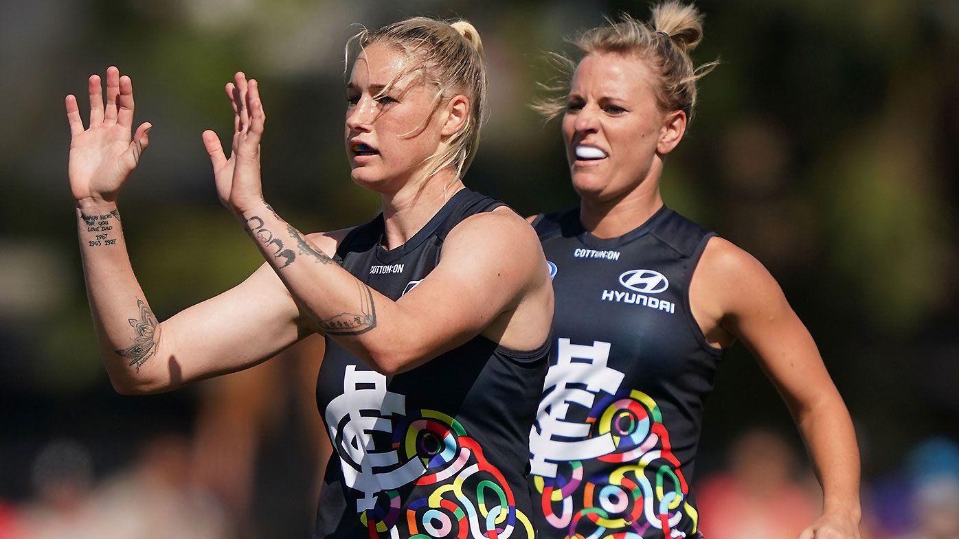 Tayla Harris disproves 'useless' theory as Carlton down spirited Bulldogs in AFLW win
