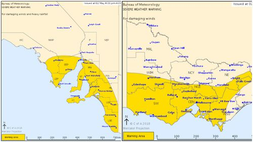 Severe weather warnings issued for South Australia (left) and Victoria (right). (BoM)