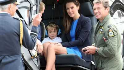 Prince George and his mother, the Duchess of Cambridge, sat in the helicopter.