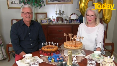 Kate and Warren Davies were waiting in the wings, complete with a makeshift birthday party.