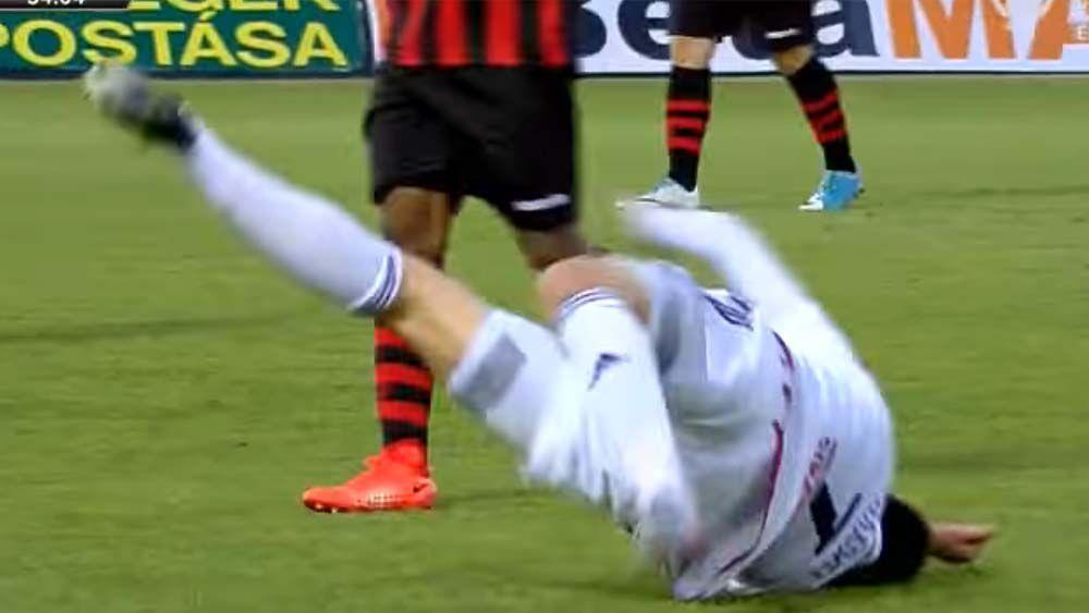Serbian footballer Danko Lazovic flops like a fish during Hungarian league game