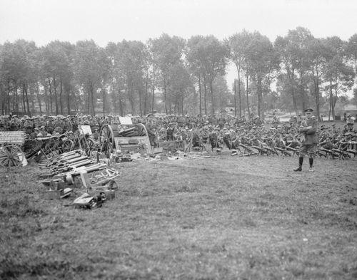 Lieutenant General Sir John Monash KCB VD addressing the 2nd Division near Camon, France, during the Great War. (AAP Image/Australian War Memorial)