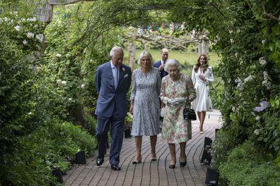 Prince William Queen Elizabeth Kate Middleton walking