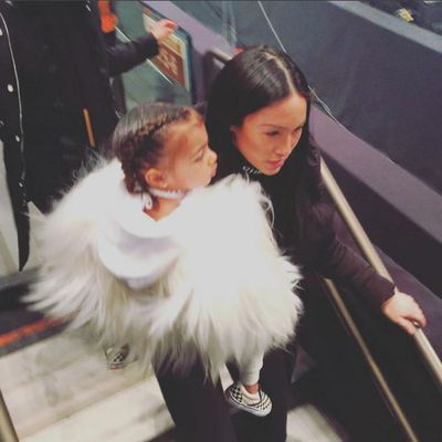 It all got too much for North West, who was taken home mid-show.