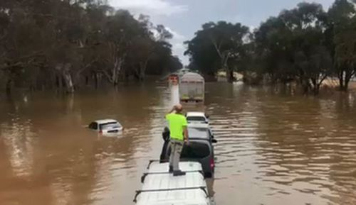 The Hume Freeway in Victoria- where some areas had two months worth of rain in a day yesterday.