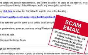 Westpac customers targeted in email phishing scam