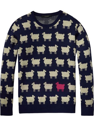 """<p><strong>Get flocked</strong></p> <p><a href=""""http://webstore.scotch-soda.com.au/men/new-arrivals/intarsia-pullover-1.html?color=Combo+A"""" target=""""_blank"""">Scotch &amp; Soda</a> Intarsia pullover, approx.$175</p>"""
