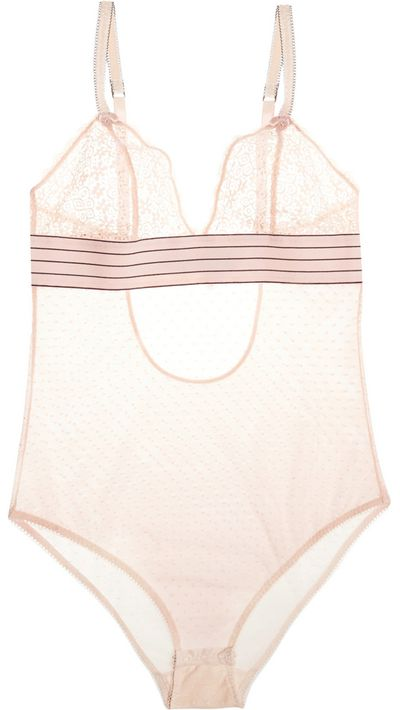 "<p><a href=""http://www.net-a-porter.com/au/en/product/490426"" target=""_blank"">Millie Drawing Lace and Swiss-Dot Tulle Bodysuit, $101.59, Stella McCartney</a></p>"
