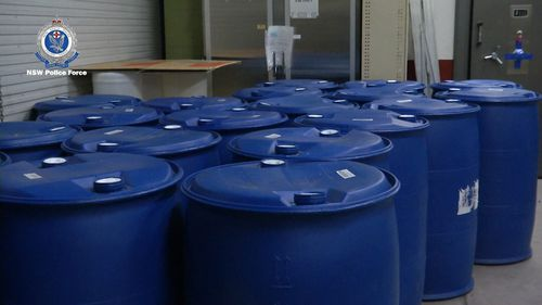 20 blue drums labelled as 'liquid fertilizer' arrived in Sydney from China.
