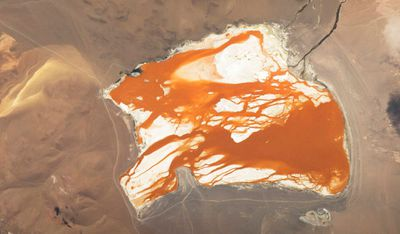 Bolivia's Laguna Colorada, brightly coloured by algae. Image taken April 16.