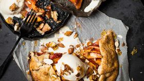 Peach galette with candied almonds