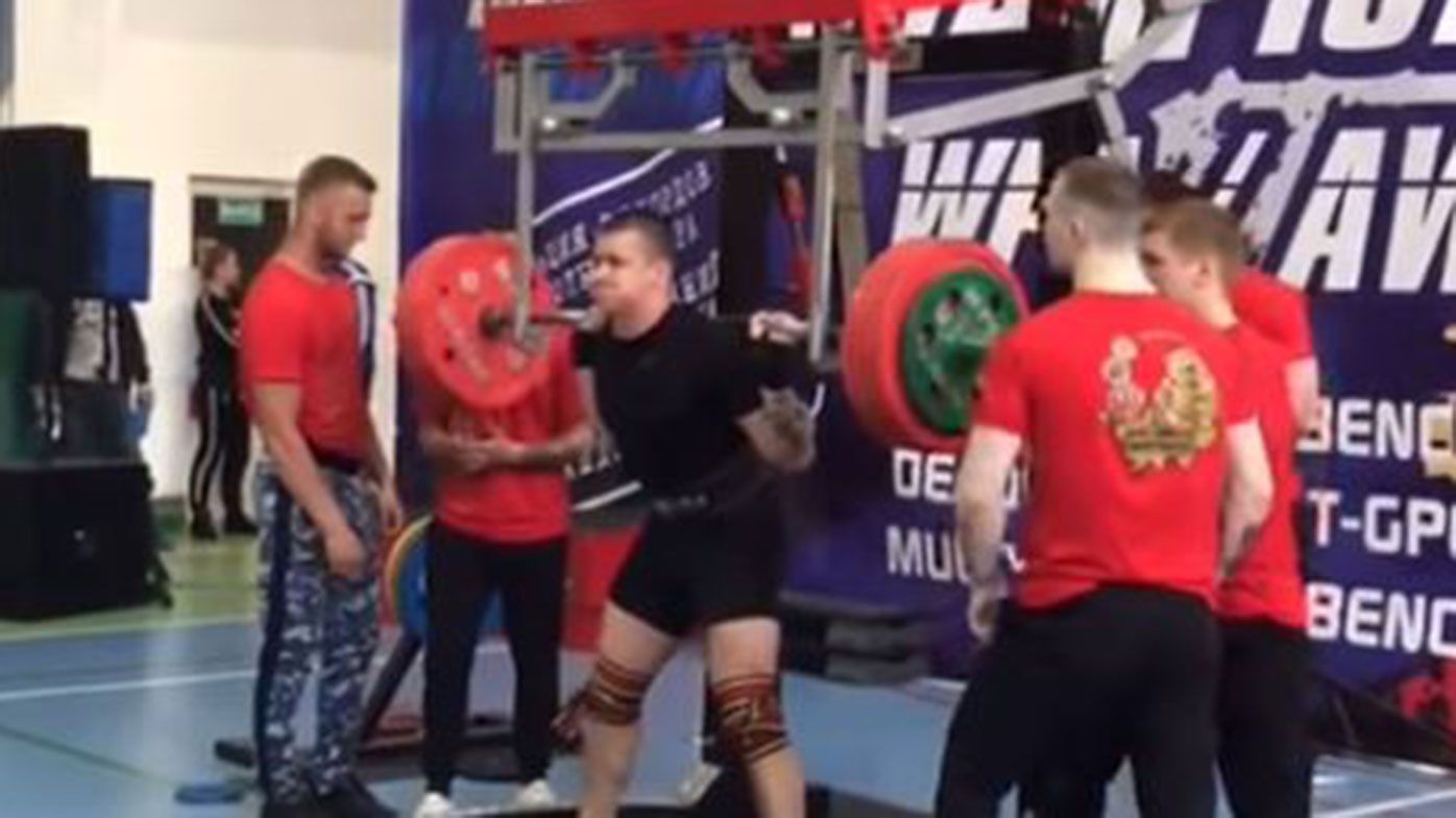 Russian powerlifter Yaroslav Radashkevich suffered a sickening broken leg.
