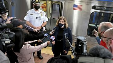 SEPTA General Manager Leslie Richards speaks during a news conference as SEPTA Transit Police Chief Thomas Nestel III stands behind her, in Philadelphia, following a brutal rape on the El, as other riders watched, over the weekend.