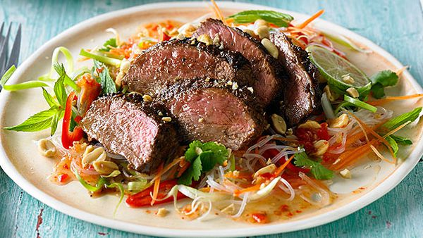Malaysian-style lamb rump with noodle salad